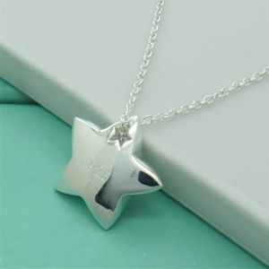 NEW Genuine 925 Silver Star Link Chain Necklace